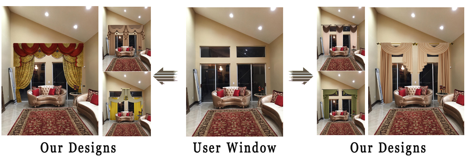 Use Any Fabric And We Will Send All Fabrics Samples To You Do Unlimited Designs Onto Your Window Pictures Until Are Fully Satisfied For Free