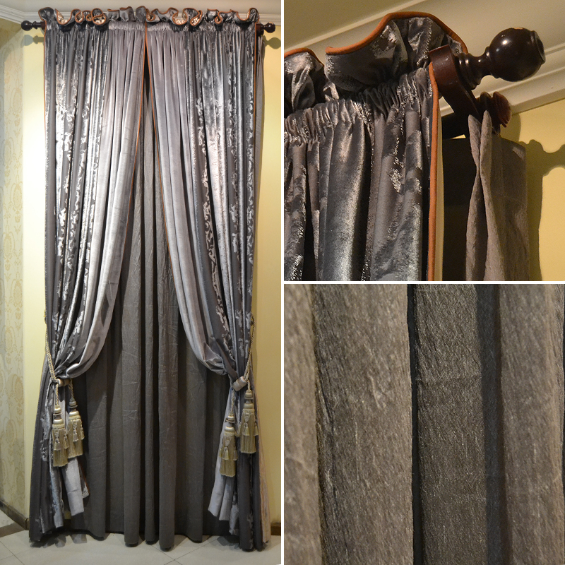 interior silk dupioni draping platinum decor silver grey pin curtains window treatment dressing home curtain